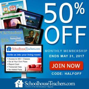 50% off Schoolhouse Teachers
