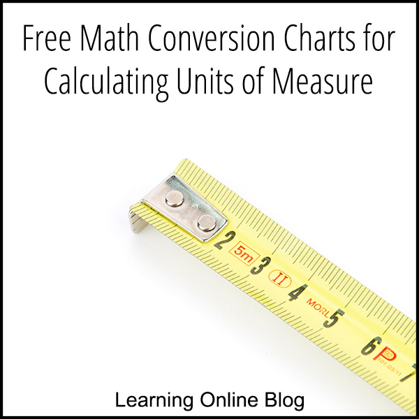 Free Math Conversion Charts For Calculating Units Of Measure